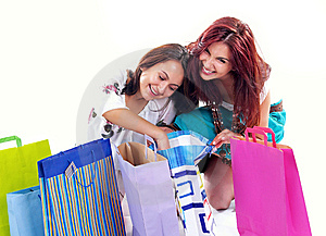 Happy shopping girl Free Stock Photography