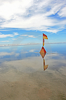 Lifeguard Flag At Murawhai Beach 2 Royalty Free Stock Photos - Image: 7879328