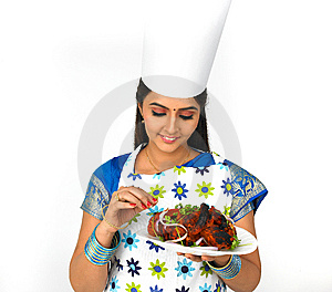 Female Chef With Her Roasted Chicken Stock Photo - Image: 7879830