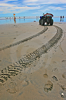 Tyre Track On Beach With Lifeguard Vehicle Royalty Free Stock Photos - Image: 7879838