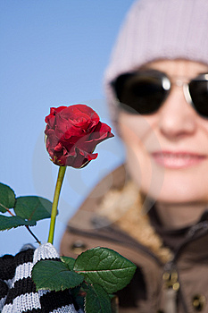 Woman With Red Rose Royalty Free Stock Image - Image: 7886136