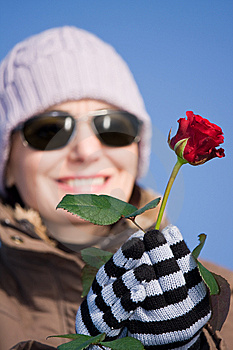 Woman With Red Rose Royalty Free Stock Photo - Image: 7886245