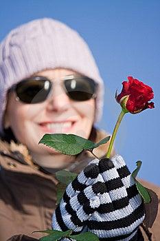 Frau Mit Rotrose Lizenzfreies Stockfoto - Bild: 7886245