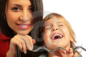 Woman And Girl Laugh Loudly Stock Photo - Image: 7891400