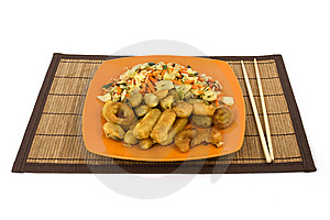 Seafood On A Reed Pad Royalty Free Stock Photo - Image: 7892815