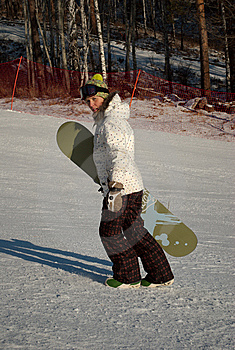 Woman With Snowboard Royalty Free Stock Photo - Image: 7893035