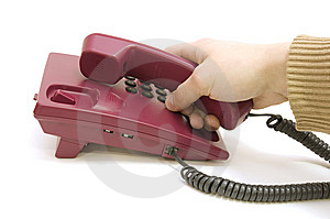 Male Hand Pick Up The Telephone On White Backgroun Stock Photos - Image: 7893953