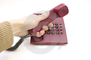 Male Hand Pick Up The Telephone On White Backgroun Royalty Free Stock Photography - Image: 7893957