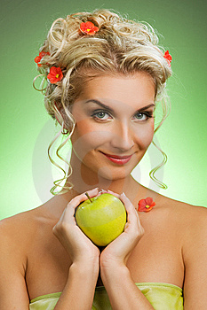 Woman With Ripe Green Apple Royalty Free Stock Photo - Image: 7894165