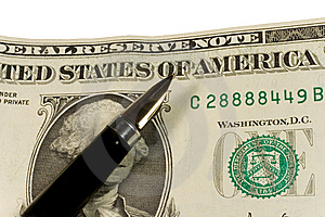 Pen On Dollar Bills Stock Images - Image: 7895924