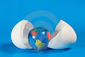 Small Globe In Broken Eggshell Royalty Free Stock Images - Image: 7896019