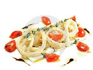 Salad With Calamari Rings And Sheep Cheese Royalty Free Stock Image - Image: 7896316