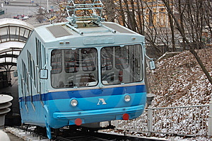 Railway Funicular At Winter. Kiev , Ukraine Royalty Free Stock Photos - Image: 7896438