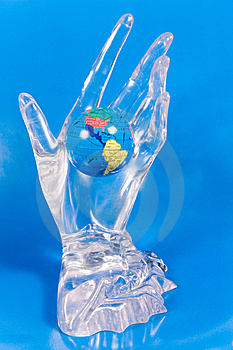Small Globe In A Glass Hand Royalty Free Stock Images - Image: 7896509