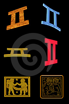Gemini Ikony Set Obraz Royalty Free - Obraz: 7899676
