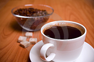 Cup Of Coffee, Sugar And Beans Stock Photos - Image: 7901893