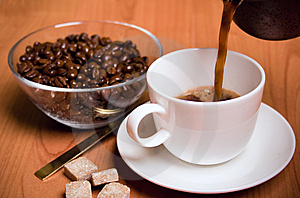 Cup Of Coffee, Sugar And Beans Royalty Free Stock Images - Image: 7901919