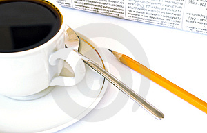 Cup Of Coffee And Newspaper On White Royalty Free Stock Images - Image: 7901949