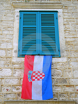 A Wall With Window & Croatian Flag Royalty Free Stock Image - Image: 7902086