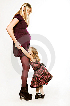 Pregnant Woman With Little Daughter Stock Photography - Image: 7902922