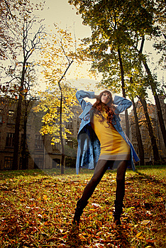 Woman In Blue Jaket Posing In Autumn Park Stock Photography - Image: 7909222