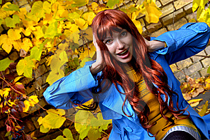 Woman In Blue Jaket Posing In Autumn Park Royalty Free Stock Photography - Image: 7909247