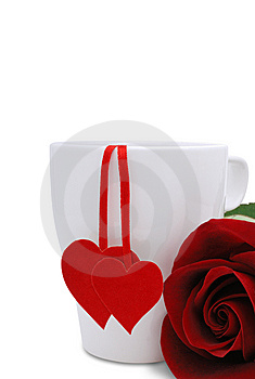 Cup With Two Red Hearts And Flower Stock Photo - Image: 7910750