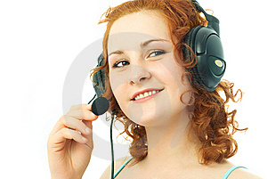 Happy Girl Wearing Earphones With A Microphone Royalty Free Stock Images - Image: 7912779