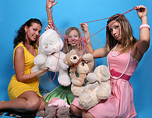 Three Female Friends With Teddy Bears And Beads Royalty Free Stock Photo - Image: 7913805