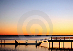 People Walking On A Pier Stock Images - Image: 7913814