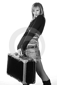Woman With Travelling Bag Stock Photo - Image: 7915030