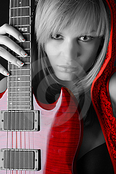 Woman With Electric Guitar Stock Images - Image: 7915174