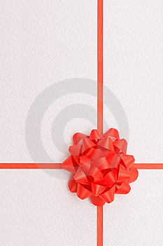 Red ribbon with te bow Stock Image