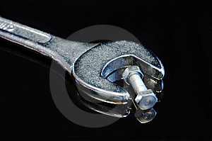 Wrong Tool: Big Wrench With Little Nut And Bolt Royalty Free Stock Image - Image: 7916766