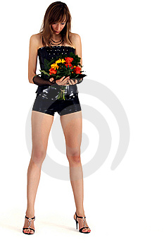 Sad Woman With Flowers Royalty Free Stock Image - Image: 7917166