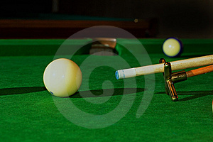 Ball, Cue And Support Stock Image - Image: 7919411