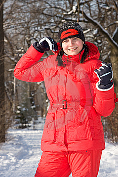 The Girl  Walks In Snow-covered Park Royalty Free Stock Photos - Image: 7920058