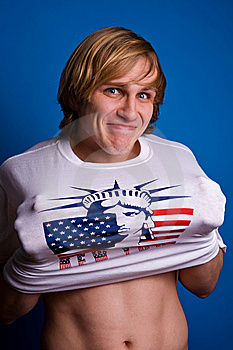 Funny Man In White T-shirt With Symbol Of America Stock Image - Image: 7922721