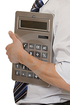 Businessman With Gigantic Pocket Calculator Stock Photography - Image: 7924092