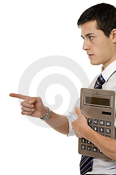 Businessman With Gigantic Pocket Calculator Royalty Free Stock Photo - Image: 7924095