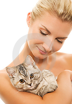 Woman With Adorable Kitten Royalty Free Stock Photography - Image: 7924447