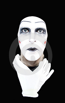 Mime With Hands On A Neck Stock Images - Image: 7925614