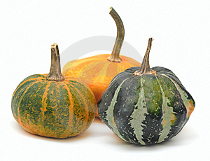 Three Fancy Pumpkins Isolated Over White Royalty Free Stock Photo - Image: 7926915