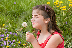 Little Girl Blowing Dandelion Seeds Royalty Free Stock Photography - Image: 7927327