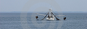 Shrimp Boat Dragging Net Stock Images - Image: 7927744