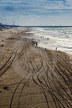 Beach With Tire Tracks Stock Photo - Image: 7928870