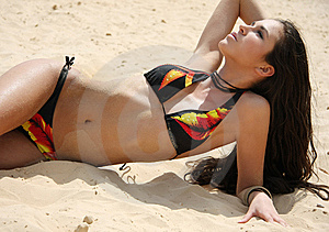 The Girl On A Beach Royalty Free Stock Photography - Image: 7929147