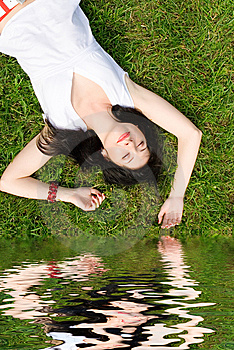 Woman Rest On The Grass Stock Images - Image: 7930274