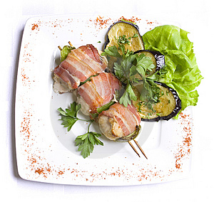 Grilled Chiken Meat Wraped In Bacon Royalty Free Stock Photo - Image: 7930485