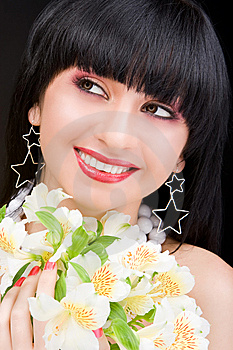 Woman Portrait With Flowers Stock Images - Image: 7930694